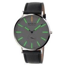 Epoch 6025g impermeable 50 m gas tritio luminoso caso ultrafino de los hombres de negocios reloj de cuarzo reloj de pulsera