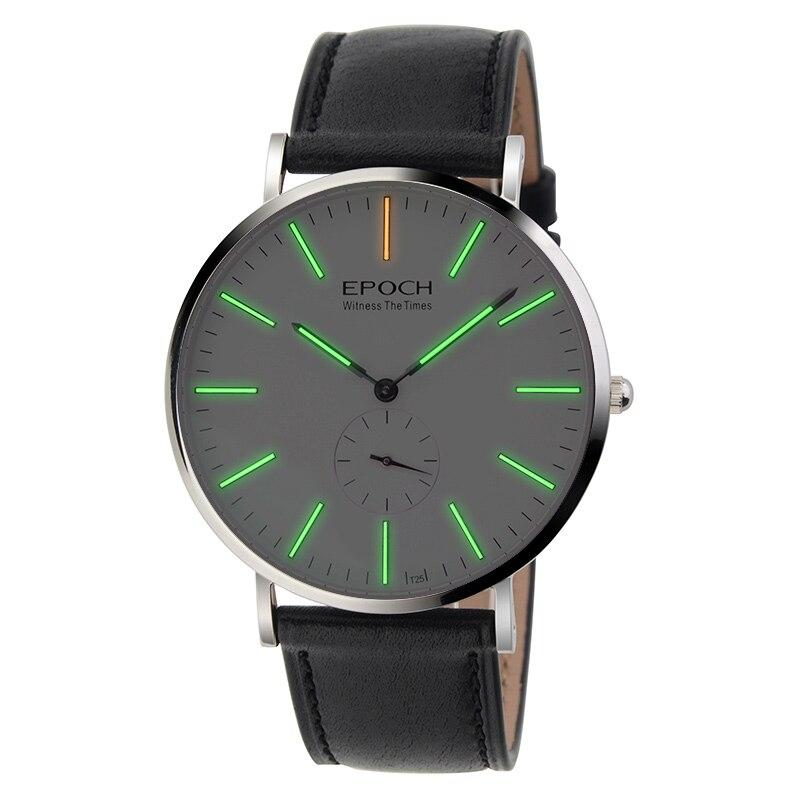 EPOCH 6025g étanche 50 m tritium lumineux ultra-mince étui hommes d'affaires montre à quartz montre-bracelet
