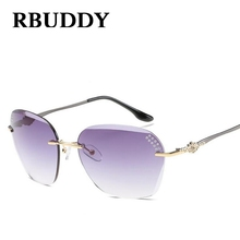RBUDDY  Clear Lens Gradient Rimless Sunglasses Women Metal Frame Brand Designer Rhinestones elegant Crystal Cutting