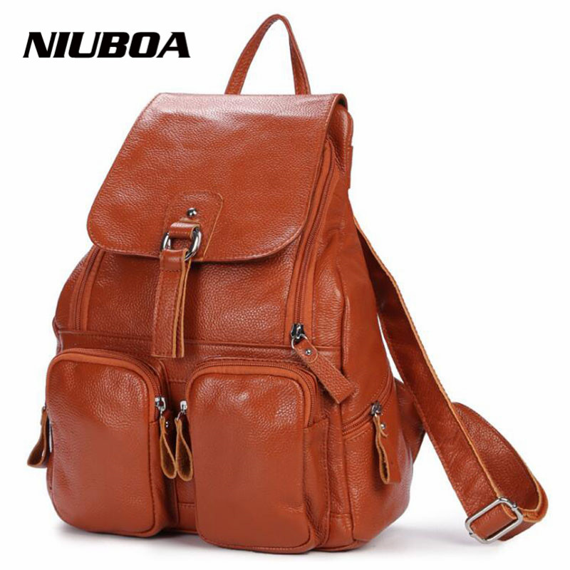 100% Genuine Cowhide Leather Backpack Women's Fashion Travel Backpack Casual Leather Designer Shoulder Bag Female Backpack genuine leather backpack 100