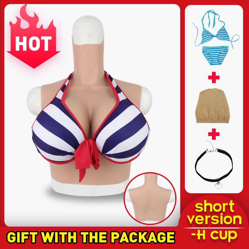 Roanyer transgender crossdresser artificial silicone fake breast forms H Cup male to female Realistic crossdressing False