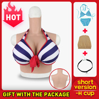 Roanyer transgender crossdresser artificial silicone fake breast forms H Cup male to female Realistic crossdressing False Boobs