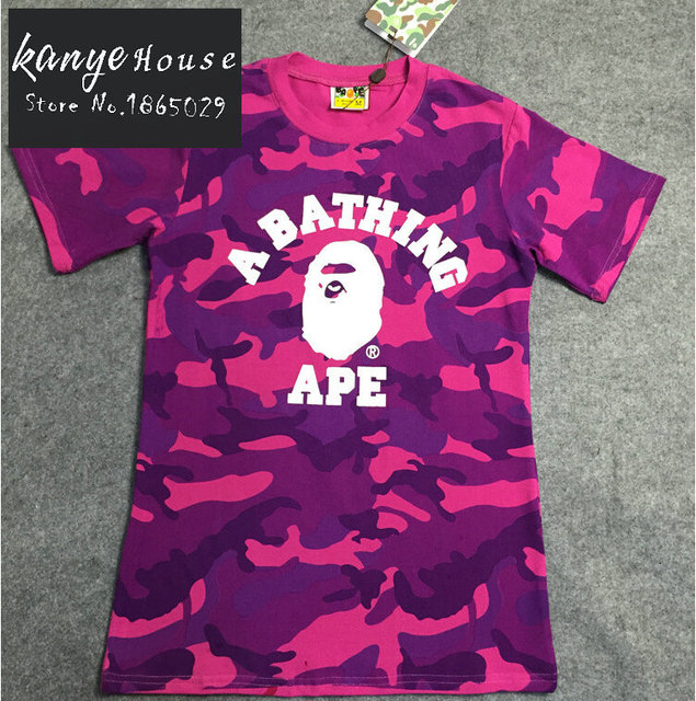 d4e04c8920af Street Fashion Bape T Shirt College Purple Red Blue Camo Short Sleeve Tee  Shirts Aape Camouflage Tshirts for Men and Women