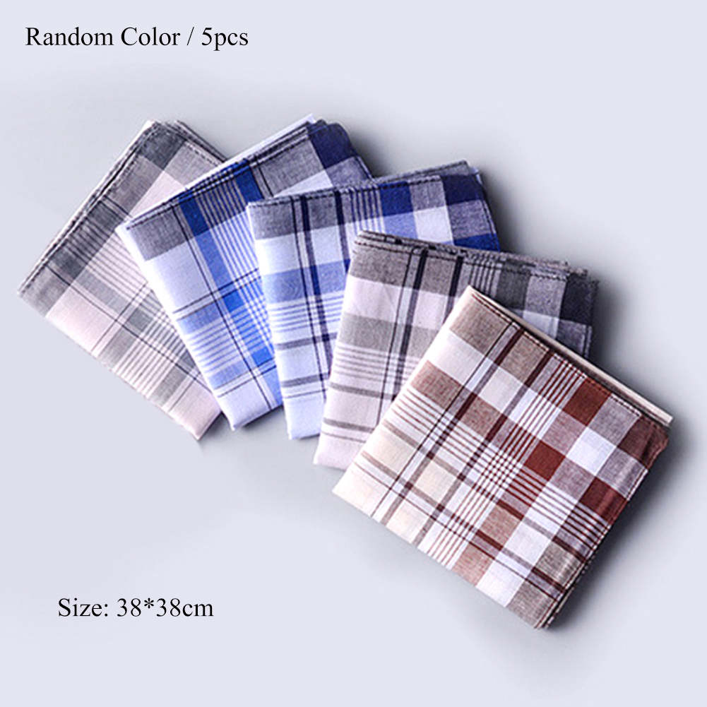 5Pcs Square Plaid Stripe Handkerchiefs Hanky Pocket Cotton Towel 38*38cm Random Men Casual Handkerchiefs Business Cotton Scarf
