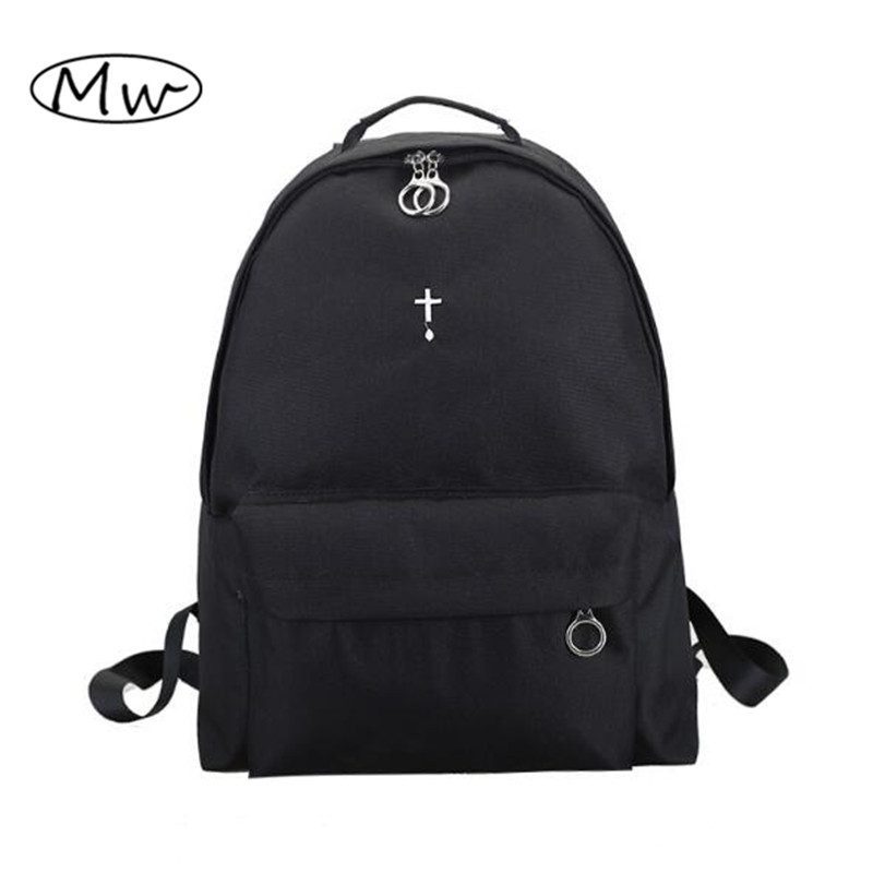 Korean Harajuku Black Moon Cross Embroidery Backpack Large Capacity Unisex Backpack Students Travel Bag School Bags For Women large capacity waterproof oxford backpack unisex students backpack school bags for teenagers laptop backpack women travel bag