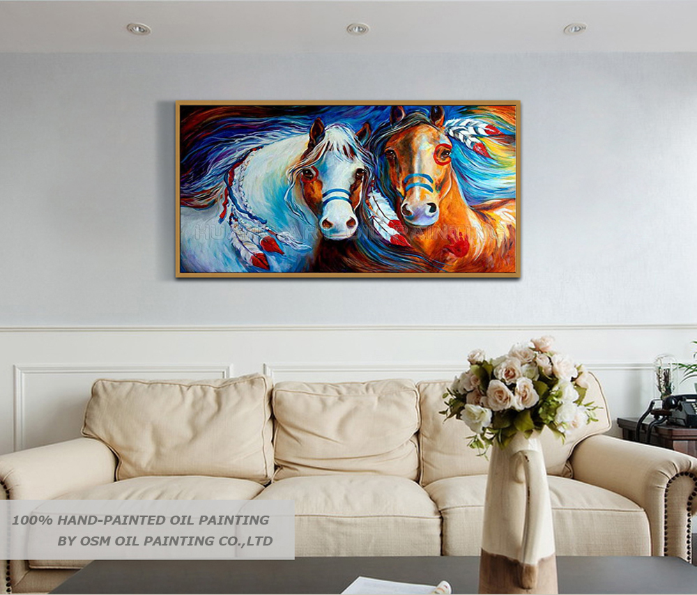 Skilled Artist Handmade High Quality Abstract Running Horse Oil Painting on Canvas Modern Knife Horse Painting for Living Room in Painting Calligraphy from Home Garden