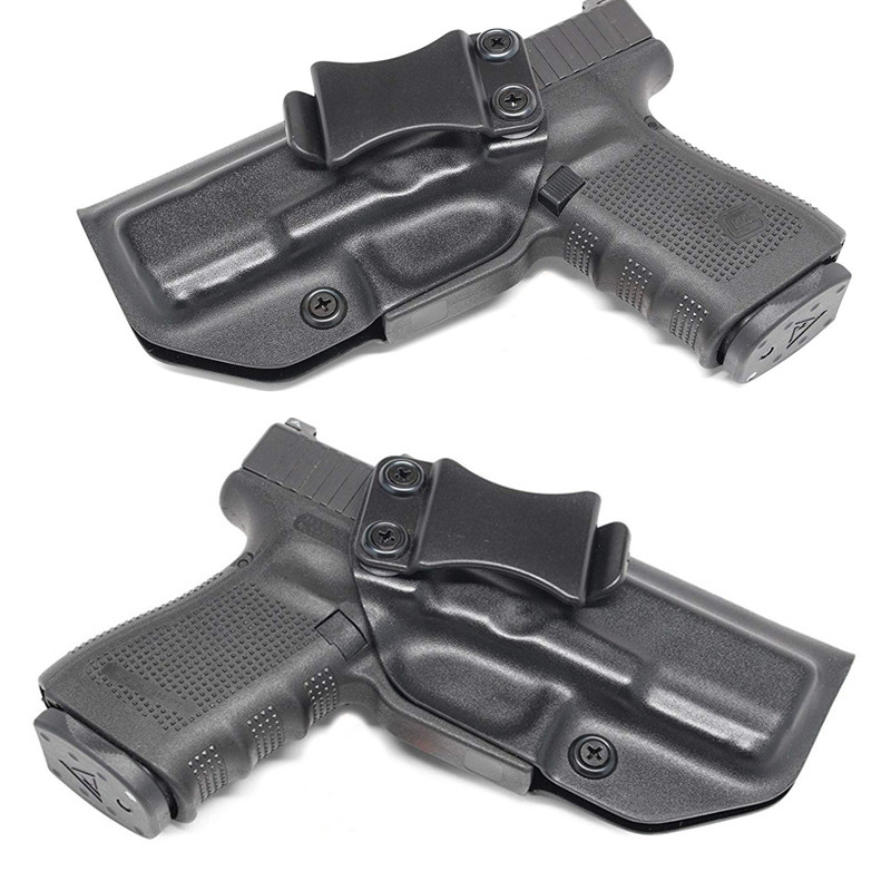 Dentro da cintura iwb kydex coldre personalizado para glock 17 19 22 23 25 26 27 31 32 33 43 escondido 9 mm pistola caso beltclip