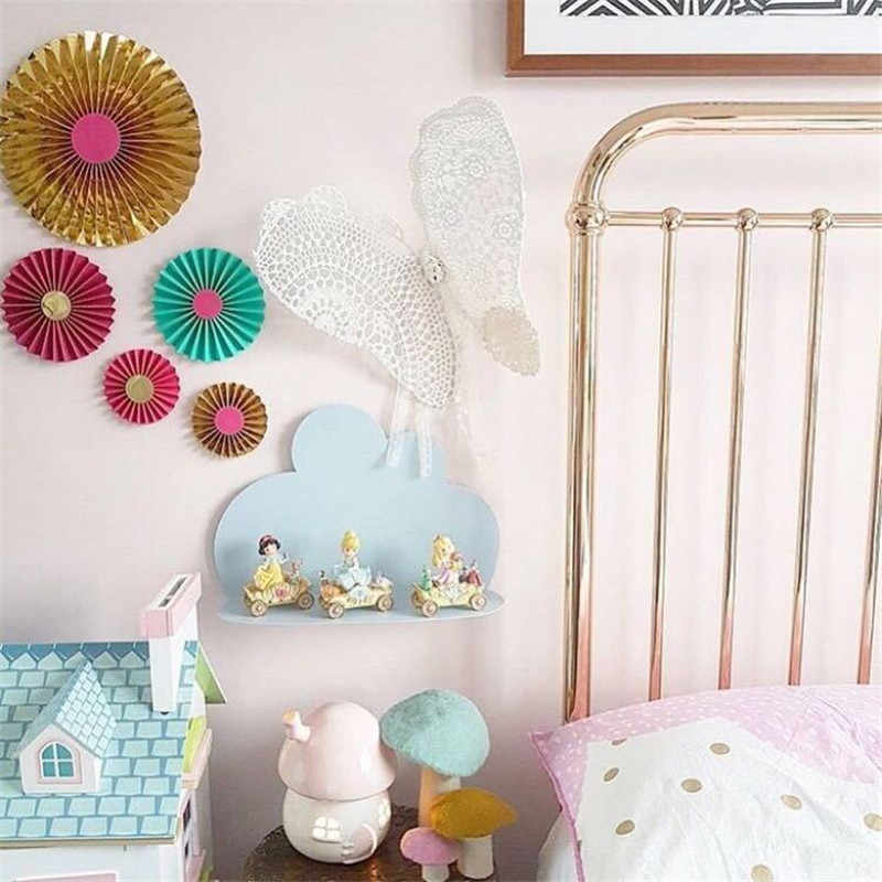 Ins Nordic Wooden Cloud Storage Shelf Baby Kids Room Decorations Wall Shelves Wood Rack Nursery Decor Photography Props