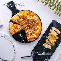 ANTOWALL Marble Ceramic Breakfast Plate Bread Board with Handle Round Pizza Plate Cookware Pizza Tray