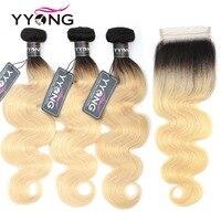 Yyong 1b/613 объемные волны пучки с закрытием бразильские человеческие волосы плетение светлые пучки с закрытием кружева 100 remy волосы расширения