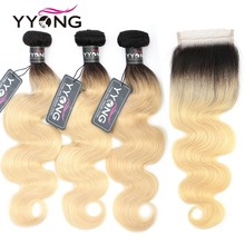 Yyong 1b/613 Body Wave Bundles With Closure Brazilian Human Hair Weave Blonde Lace 100 Remy Extensions