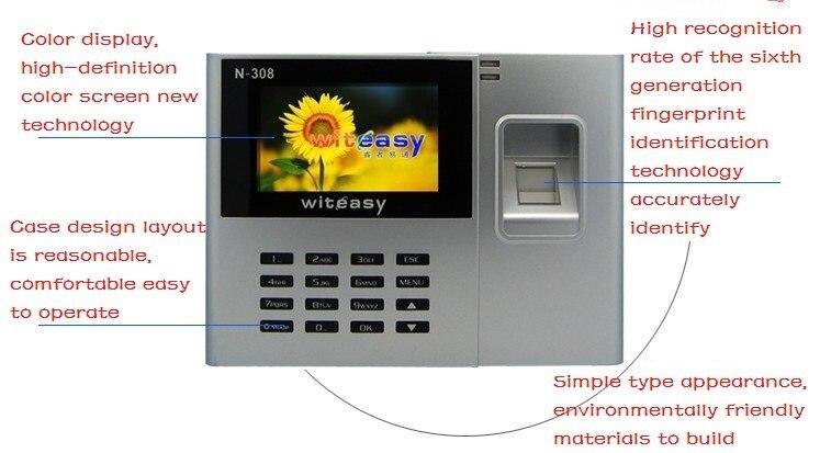 2.8 pouces couleur biométrique d'empreintes digitales temps présence horloge employé enregistreur de paie N-308 livraison gratuite