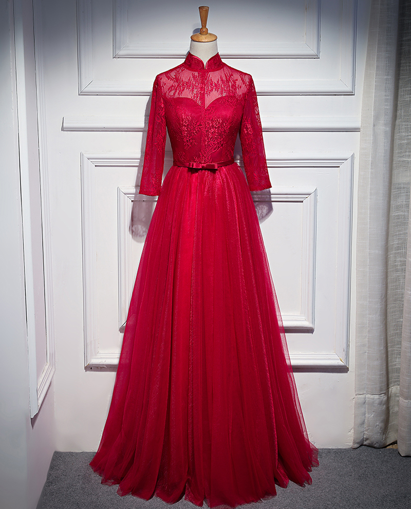 Wine Red Small High Neck A Line Illusion Long   Evening     Dresses   2018 Embroidery Half Sleeves Lace up Formal   Evening     Dress