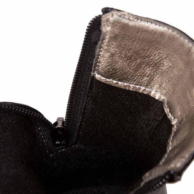 Kadın platformu konfor kalın topuk Martin çizmeler moda fermuar yarım çizmeler bayanlar yuvarlak ayak sonbahar kış ayakkabı siyah beyaz