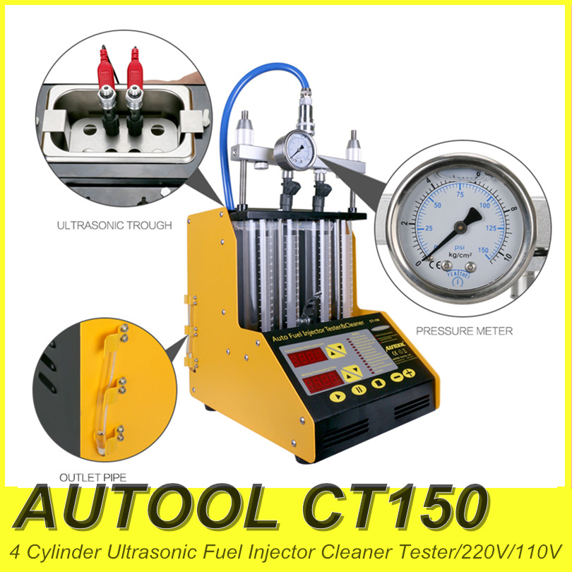 AUTOOL CT 150 Gasoline Car Motorcycle Auto Ultrasonic Fuel injector cleaning tester machine 220V 110V streamlining