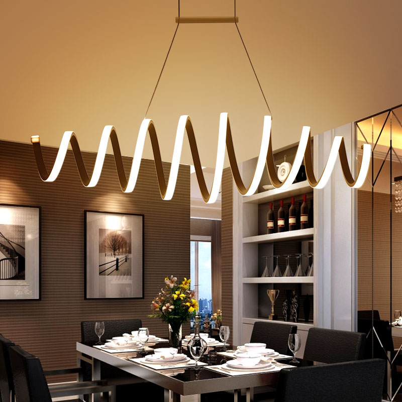AC85 260V Modern Led Chandelier For Dining Room Bar Kitchen Aluminum Acrylic White Hanging Pendant Chandelier