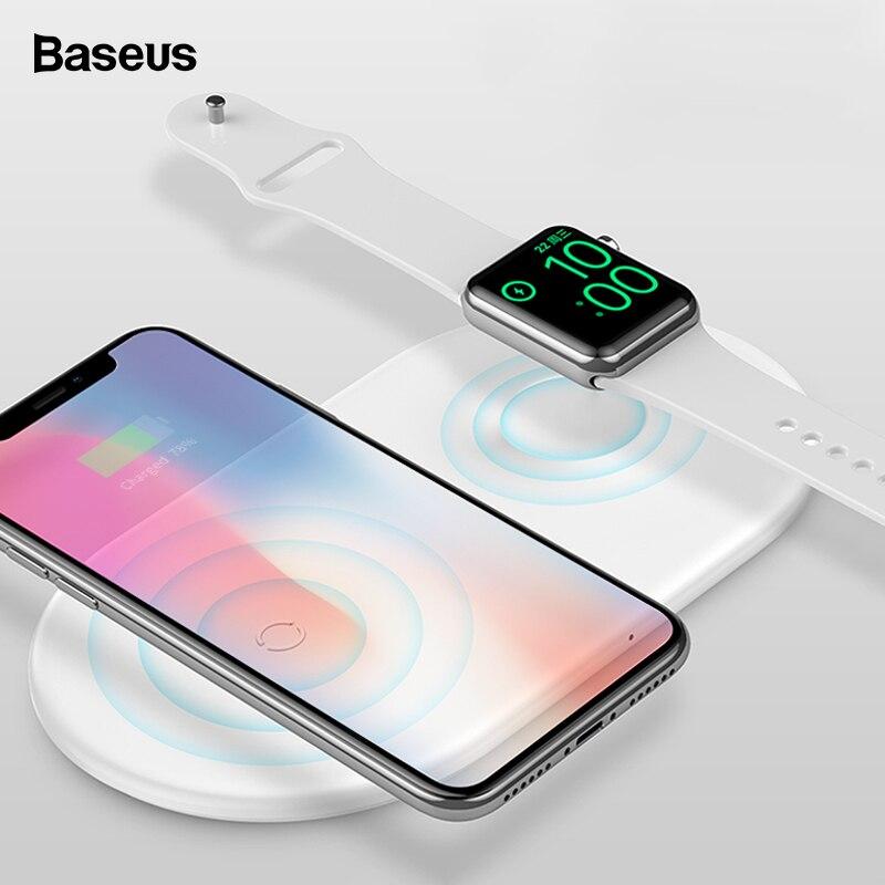 Baseus 2 en 1 cargador inalámbrico Qi para iPhone XS Max X 8 Samsung S10 10 W rápido de carga inalámbrica almohadilla para Apple Watch 3 2 cargador