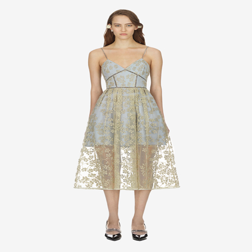 Us 3359 40 Offwomen Self Portrait Dress Summer Autumn Long Vestidos Mesh Tulle Sexy Low Cut Backless Flower Gold Lace Embroidered Dresses Blue In