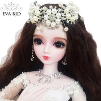 24 EVA BJD Doll SD Doll Wedding 1/3 60cm White DIY Doll jointed BJD Bride + Handmade Makeup + Full Access Wig Dress Shoes Gift