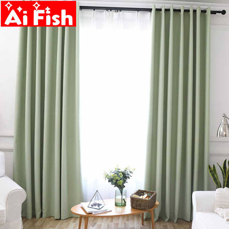 Modren black out shading solid color window screen curtains for living room window custom made kitchen curtains fabric blinds-40