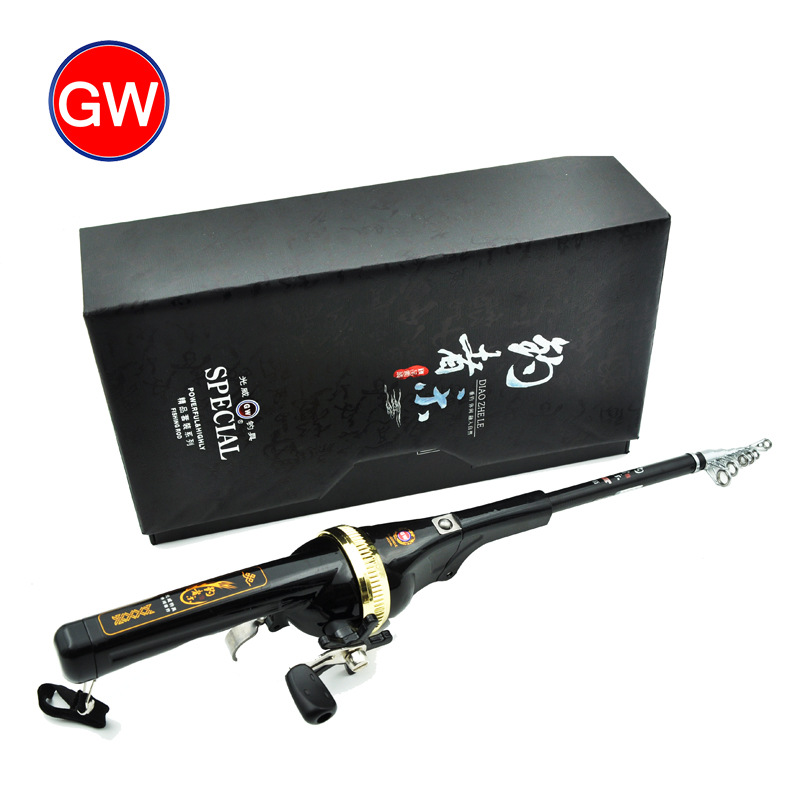 Free shipping High end Gift 2018 mini Carbon portable folding 1 58M Ice fishing rod sea