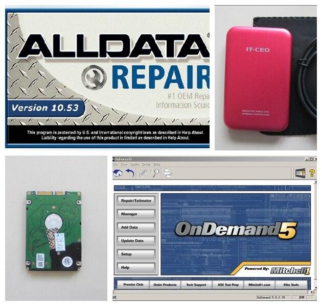 Prix pour 2017 logiciel de réparation automobile Alldata 10.53 et Mitchell OnDemand5 2015 Réparation et Estimateur diagnostic données 2 en 1 1000G Hdd