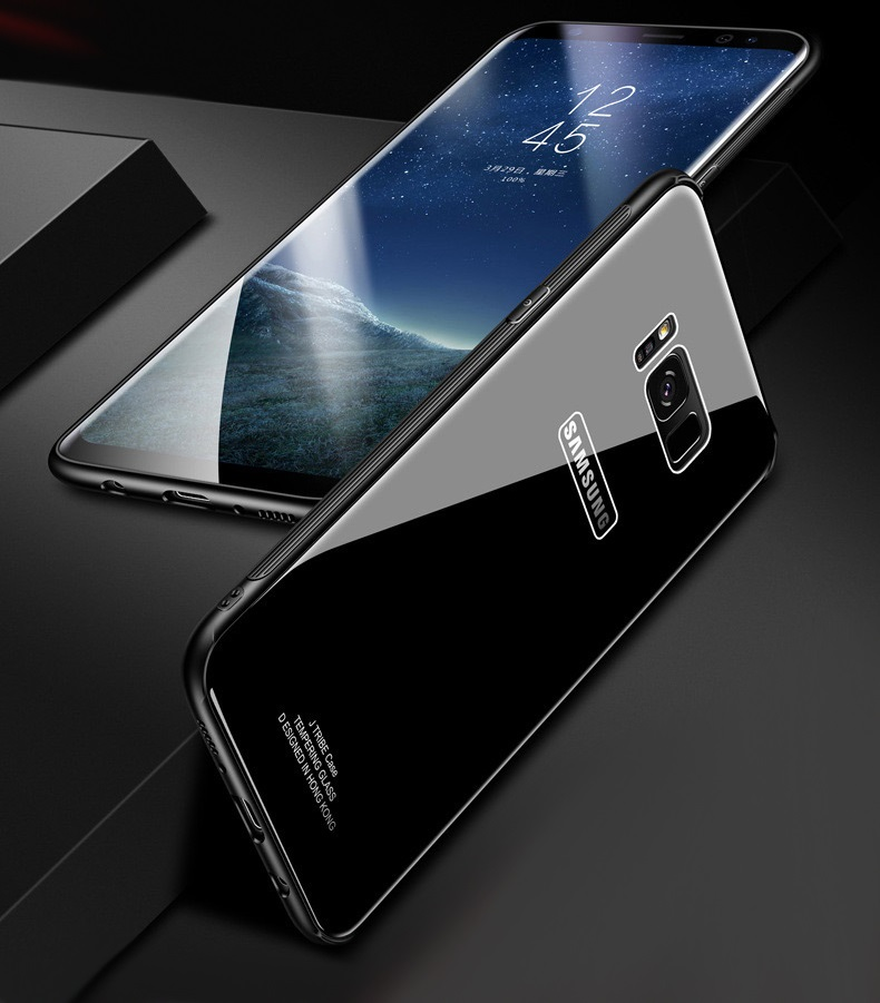 Phone Samsung Galaxy S8 S9 Plus Tempered Glass Samsung Galaxy Note 8 Glass Back Cover Solid Hard Cases