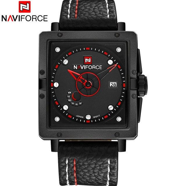 NAVIFORCE 2017 Новый китай марка man часы роскошный спортивный кварцевые часы прямоугольник набор 30 М водонепроницаемый авто дата красный кожаный группа