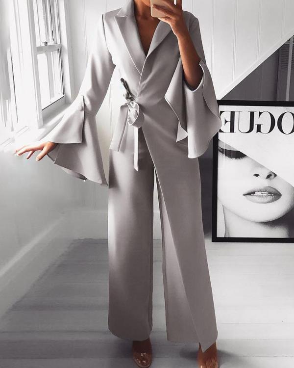 2019 D'été Femme Irrégulière Manche Évasée Cote Noeud Jambes Larges Combinaison Fête Combinaisons décontracté Volants mode nova femme