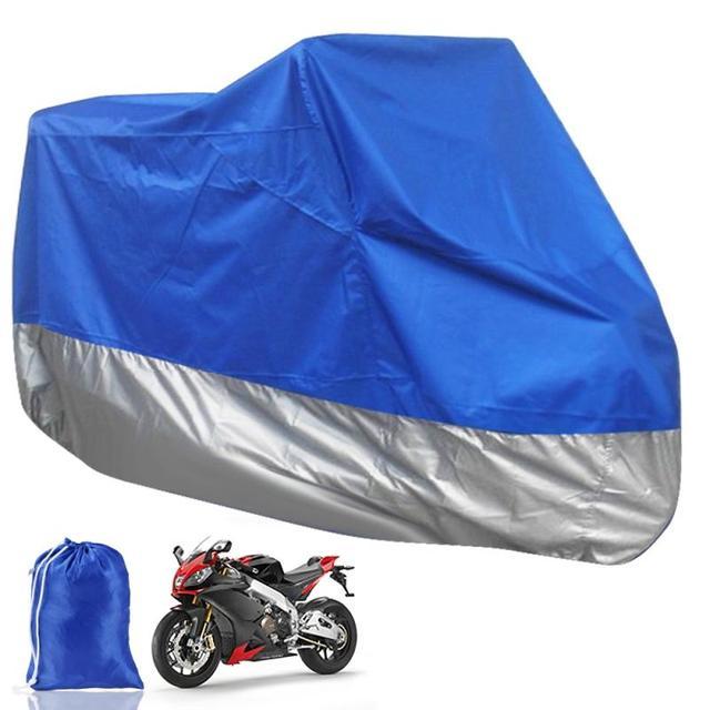 Blue Silver Breathable Motorcycle Cover Dustproof  Waterproof Fadeproof Rain UV Resistant Motorbike Clothing L-220*95*110cm