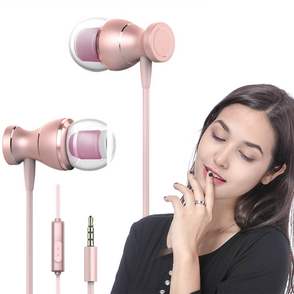 FancyQbue New Style Metal Bass Magnet Movement Earphone In-Ear With Wheat 3.5mm Plug Wire Control In-Ear Metal Movement стоимость