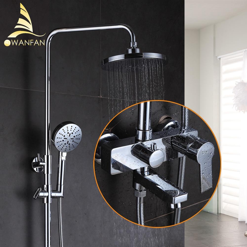 Shower Faucet Brass Chrome Wall Mounted Bathtub Faucet Rain Shower ...