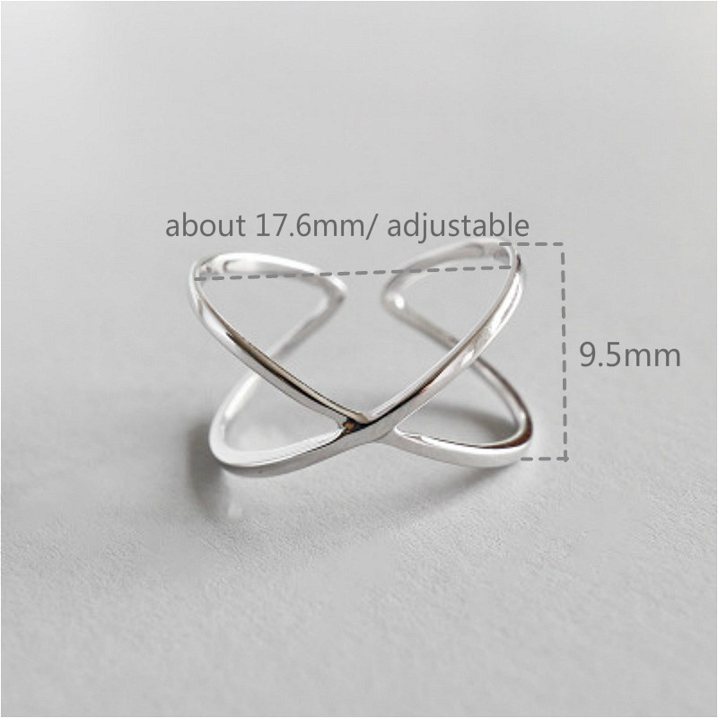 Flyleaf 925 Sterling Silver Rings For Women Line X Cross Stereoscopic Glossy Femme Fashion Fine Jewelry Simple Open Ring Party in Rings from Jewelry Accessories