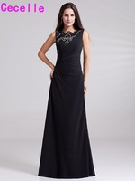 Plus Size Long Black Beaded Chiffon Evening Dresses Sleeveless O Neck Beading Simple Evening Dresses A