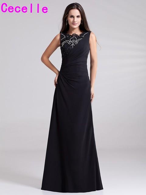 Plus Größe Langen Schwarzen Perlen Chiffon Abendkleider Sleeveless O ...