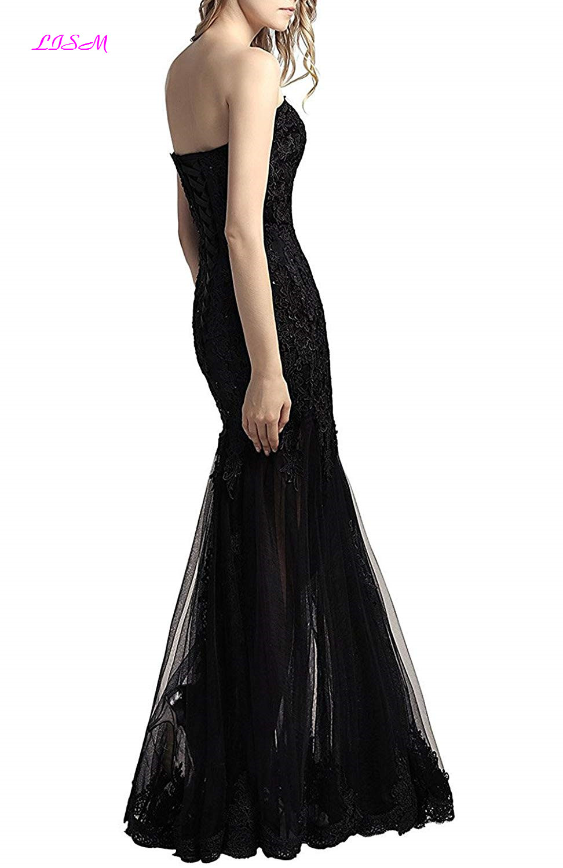 Sweetheart Bodice Mermaid Tulle Evening Dresses Appliques Beaded Prom Gowns Long Sleeveless Black Formal Dress robe de soiree