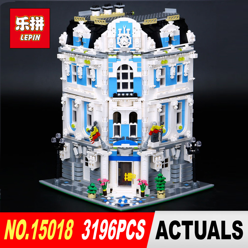 New Lepin 3196Pcs 15018 MOC City Series The Sunshine Hotel Set Building Blocks Bricks Educational Toys DIY Children Day's Gift lepin 02012 city deepwater exploration vessel 60095 building blocks policeman toys children compatible with lego gift kid sets