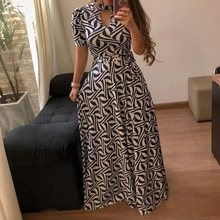 Oversized Floral Print Summer Long Dress Women Elegant Turtleneck Plus Size Boho Travel Leopard African Maxi Robe Vintage