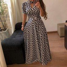 Oversized Floral Print Summer Long Dress Women Elegant Turtleneck Plus Size Boho Travel Leopard African Maxi Robe Vintage