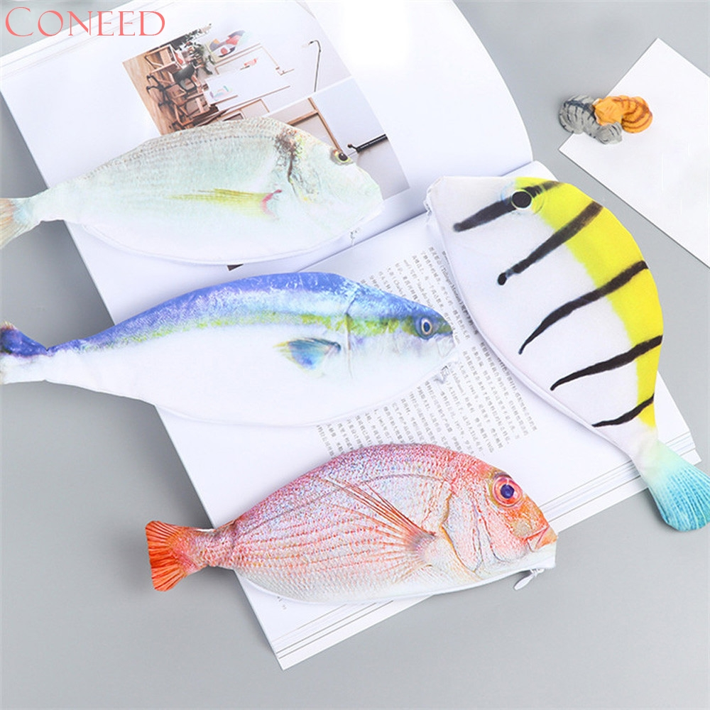 CONEED Drop Ship 2017 Coin Purse Kids Best Gift School Creative Sea Fish Shape Pencil Case Storage Bag Cosmetic Pouch Juy27 forest lion stuffed plush toy pencil case kids child coin bag gift free shipping