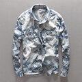 Nueva otoño invierno hombre casual algodón bolsillo de la camisa de camuflaje camisa denim hombre jeans para hombre de la camisa de manga larga camisa masculina sociales