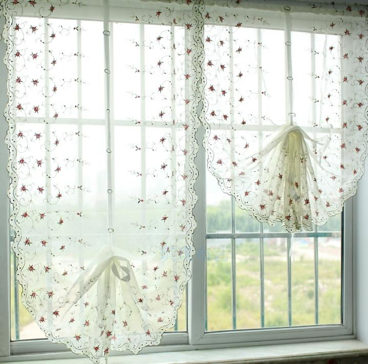 1 Panel 75*150cm Elegant embroidery small pink rose voile balloon curtain adjustable height tulle window curtains for bedroom