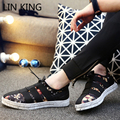 LIN KING New Men Casual Shoes Solid Thick Sole Lace Up Ankle Shoes Massage Outdoor Leisure Autumn Walking Flat Short Shoes Male