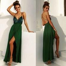 Sequins Women Ball Gown Long Dress V-Neck Backless Evening Party Dress backless slip sequins dress