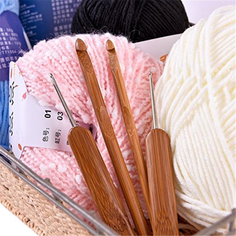 Looen Bamboo Crochet Hooks Knitting Needles Set Yarn Knitting Needles Sewing Tools Full Set Knit Gauge Women DIY Craft Tools   (4)