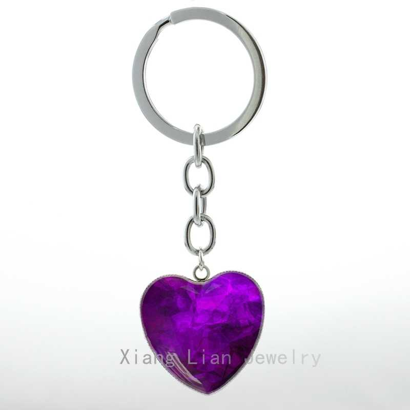 Class elegant Purple Crystal Photo Heart Pendant key chain ring  Fantasy charm ladies jewelry keychain women friends gift H58