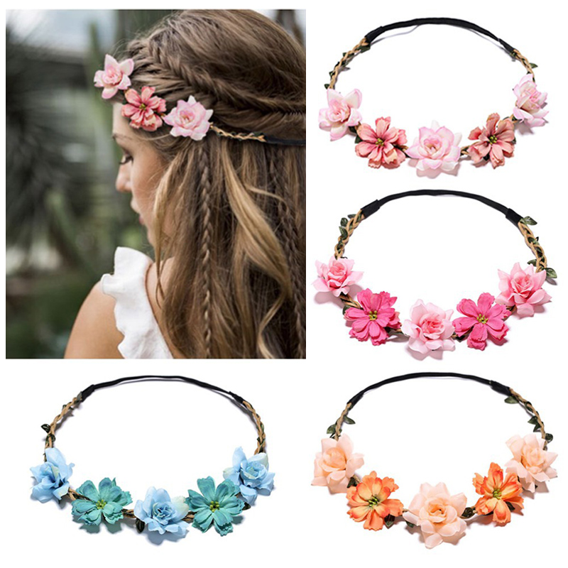 Sale Floral Headhoop Weddings Flower Headband For Women Girls Handmade Headdress Beach Crown   Headwear   Hair Accessories