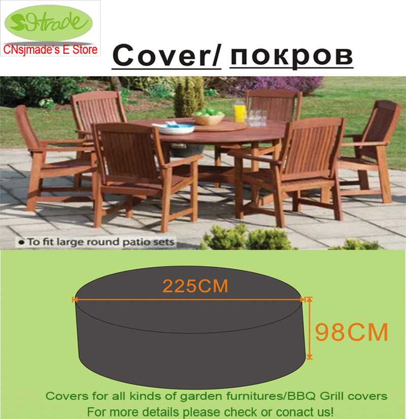 Round Wooden Chair And Table Set Cover D225x98 Cm Garden Furniture Water