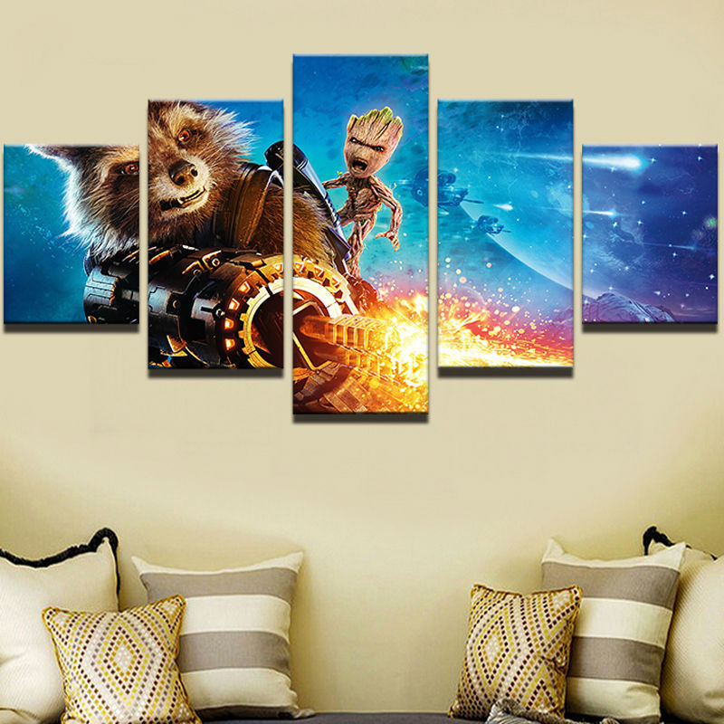 Large Framed Artistic originality Indoor Art Guardians of the Galaxy Groot Indoor Decor print canvas in 5 pieces