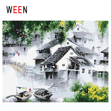 WEEN Chinese Town Diy Painting By Numbers Abstract River Boat Oil On Canvas House Cuadros Decoracion Acrylic Home Decor